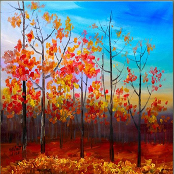 Acrylic Painting Fall Forest Aspen Tree