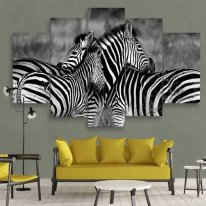 zebra 5 panel wall art