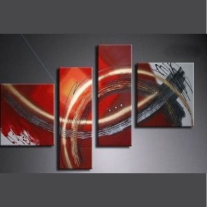 4 piece abstract paintings